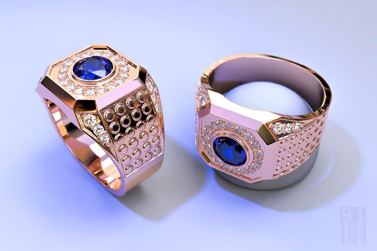 3D men jewelry ring stones