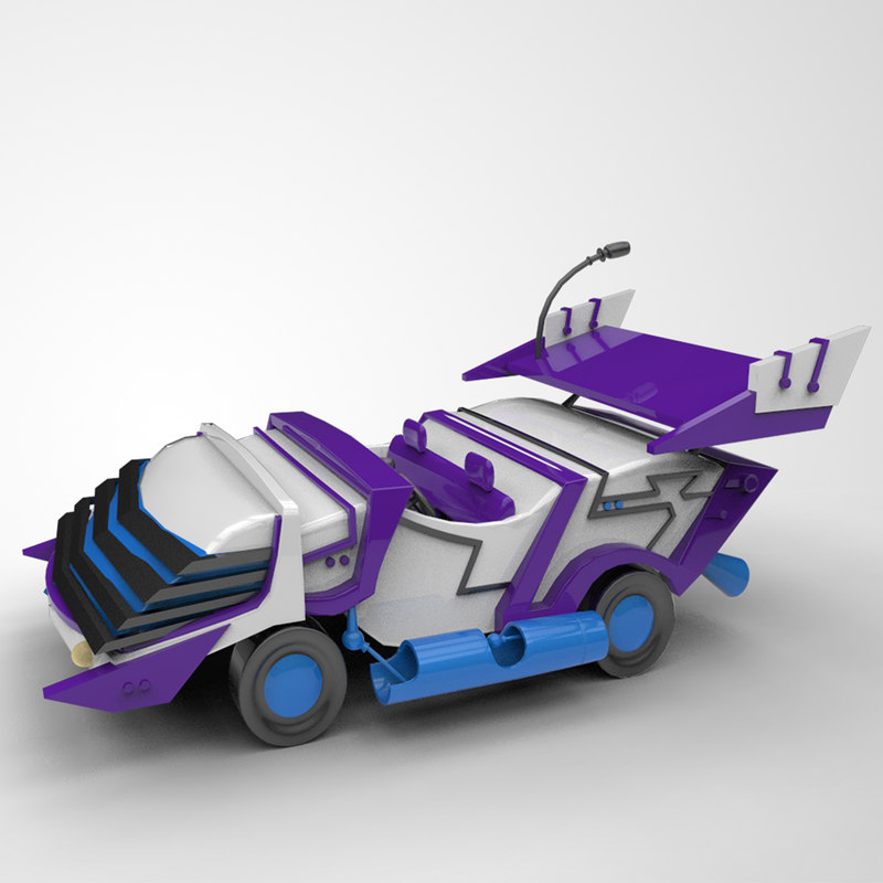 Cartoon Toy Car Low Poly and High Poly for 3D Print and Games