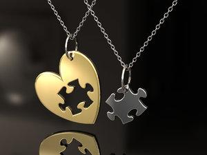 3D heart puzzle piece model