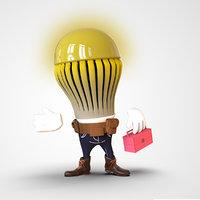 3D bulb cartoon mastcot character