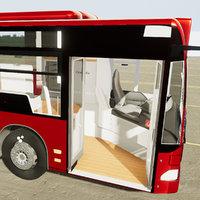 Medi Bus interior exterior - Unity AR VR Low Poly 3D Model