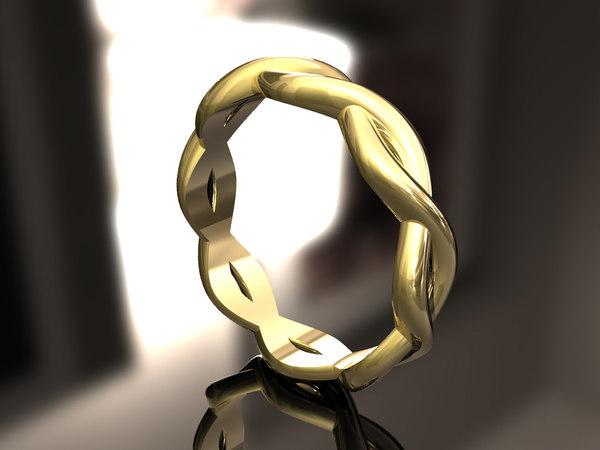 3D model woven wedding band
