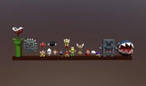 3D enemies mario model