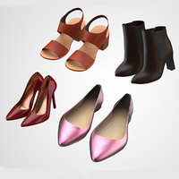Realistic Women Lady Shoes Collection 3D model