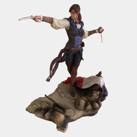 3D statue women posed weapon