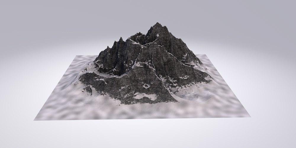 3D snow snowy mountain model