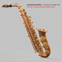 Photorealistic High Quality Game Asset Saxophone with Texture VR / AR / low-poly 3D model