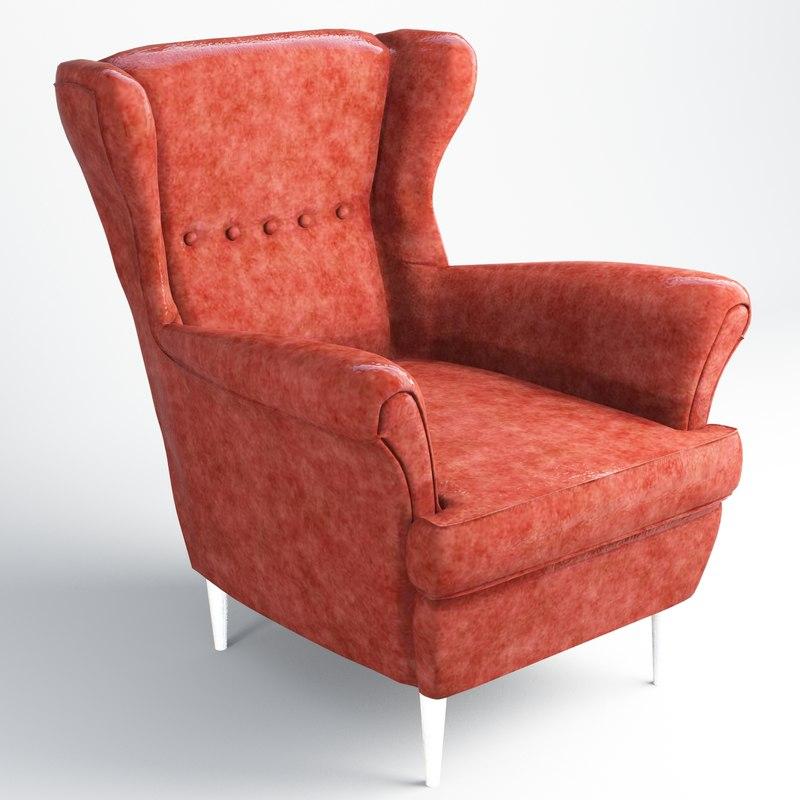3D strandmon sofa ikea low-poly