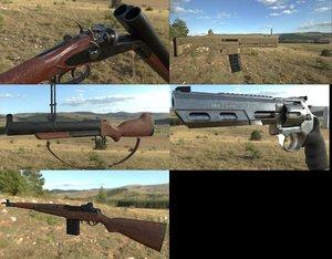 5 guns 3D model