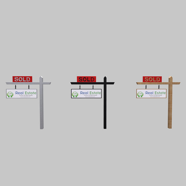 3D realistic signage real estate model