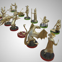 Chess High Detailed Set Brass Characters Double Set 3D model