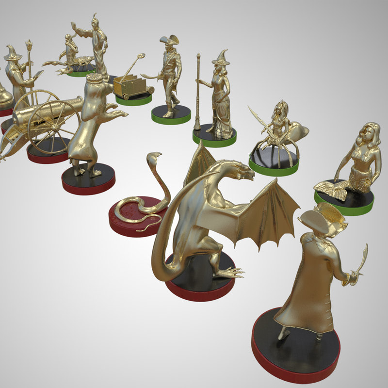 3D chess set brass characters model