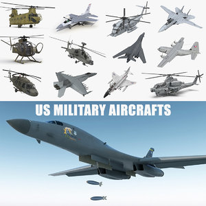 3D rigged military aircrafts