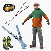 Skier and Equipment 3D Models Collection