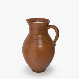 clay jug milk 3D model