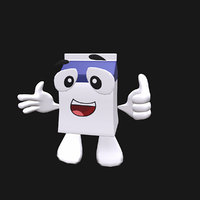 3D cute milk box cartoon character
