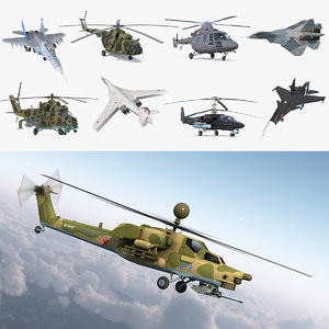 3D rigged russian military aircrafts model