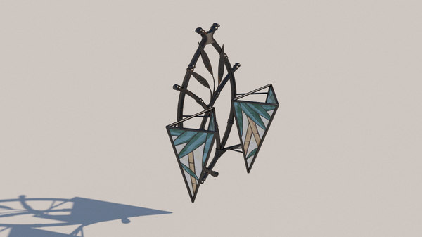 forged sconces stained glass 3D model