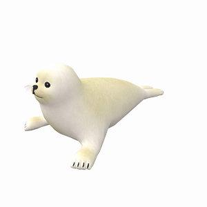 3D model harp white seal photo realistic