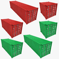 Container Low Poly (Green & Red) Collection