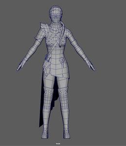 3D ninja woman model