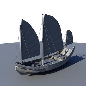 3D junk boat sail model