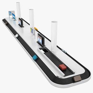 3D model belt conveyor airport