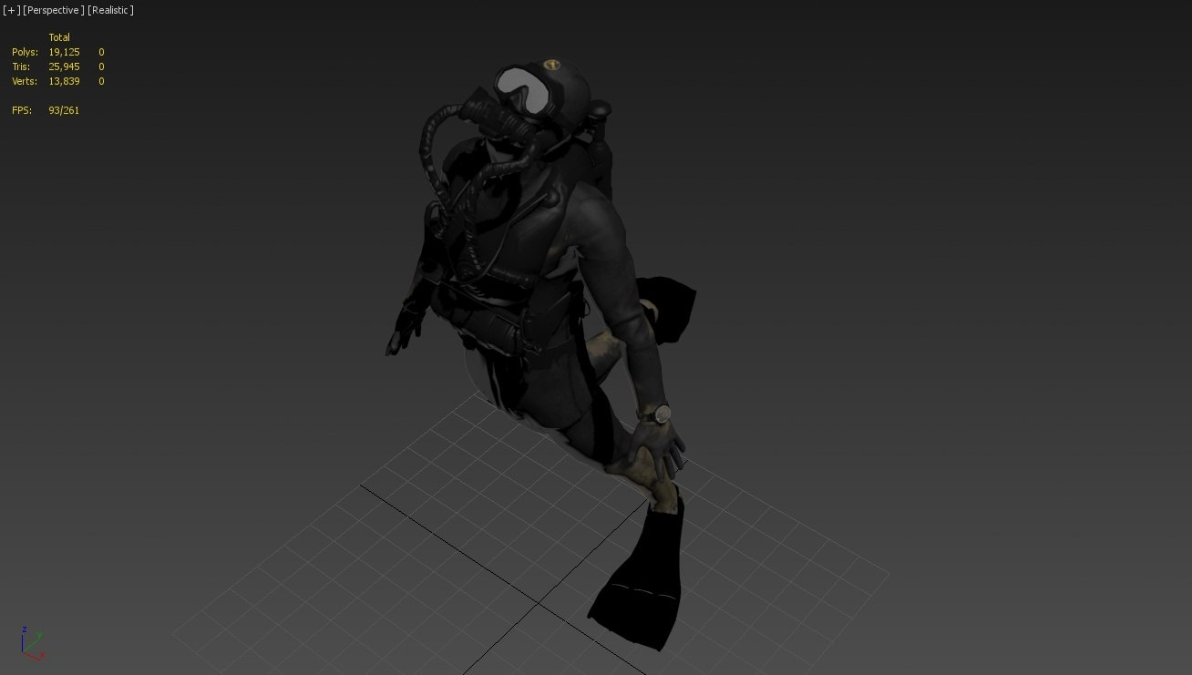 diver rigged animations 3D model