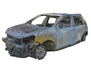 3D burned car hd model