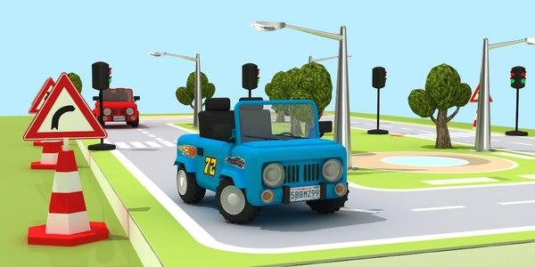 child traffic set toy 3D model