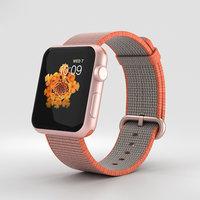 Apple Watch Series 2 42mm Rose Gold Aluminum Case Space Orange Woven Nylon