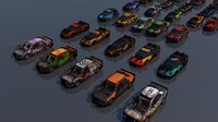 pack 9 death race cars 3D model