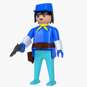 playmobil cavalry gun 3D model