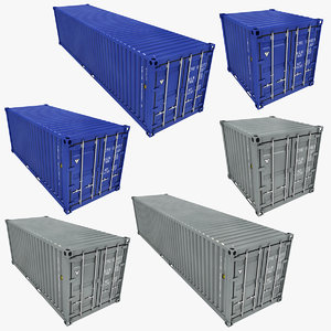 3D container gray blue model