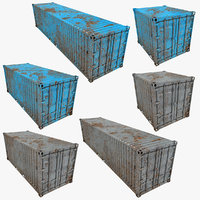 Rusty Container Low Poly (Azure & Gray) Collection