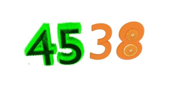 3D model number grass orange