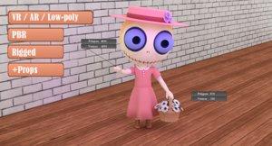 cute zombie wooden doll 3D