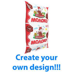 milk sachet 3D model