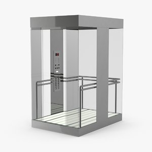 elevator-car-glass---doors-open 3D model