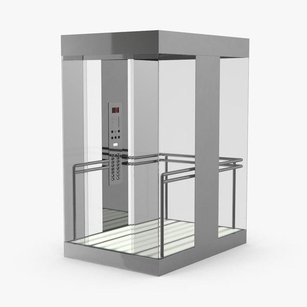 elevator-car-glass---doors-open 3D model