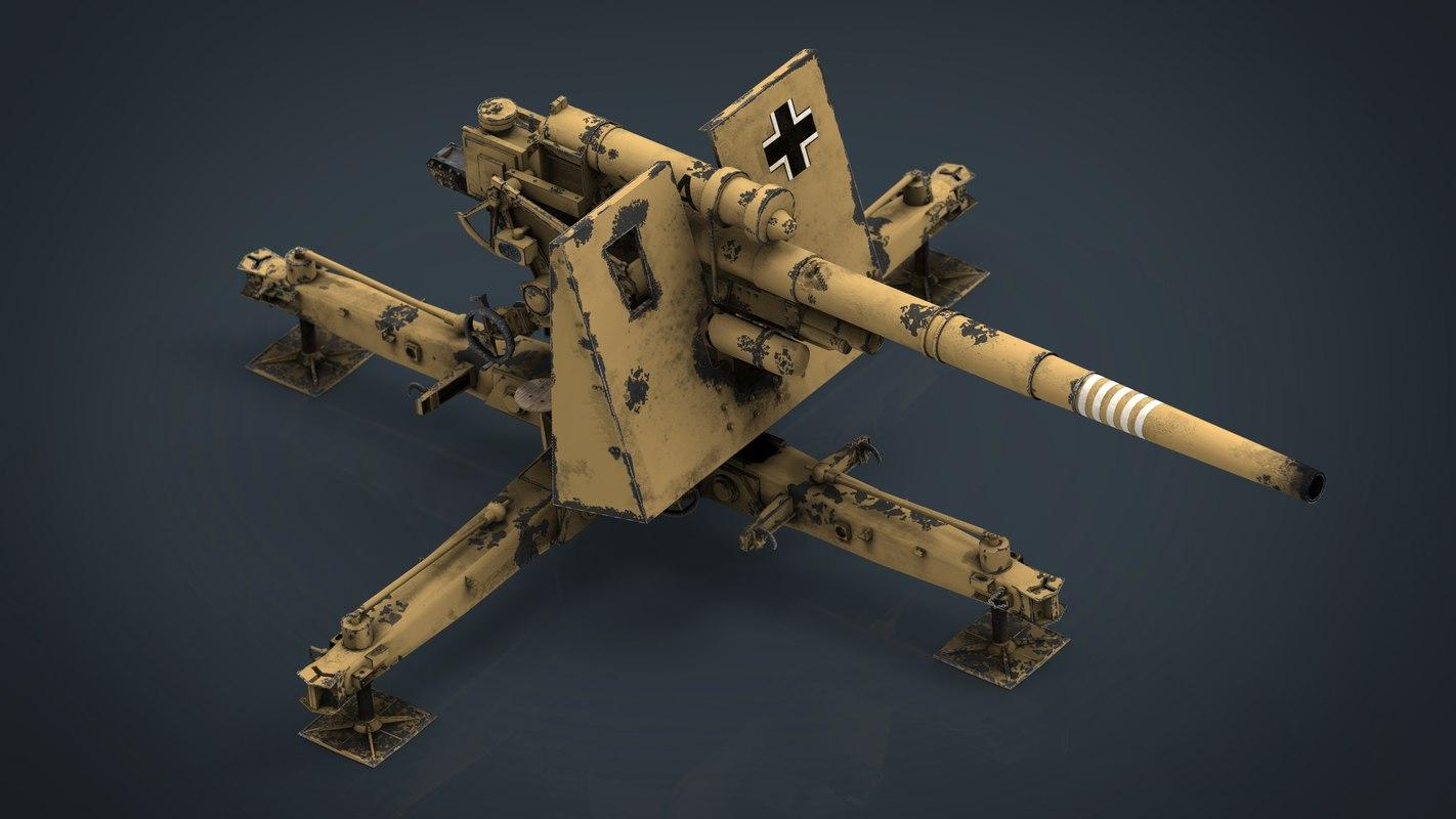 german flak 36 88mm 3D