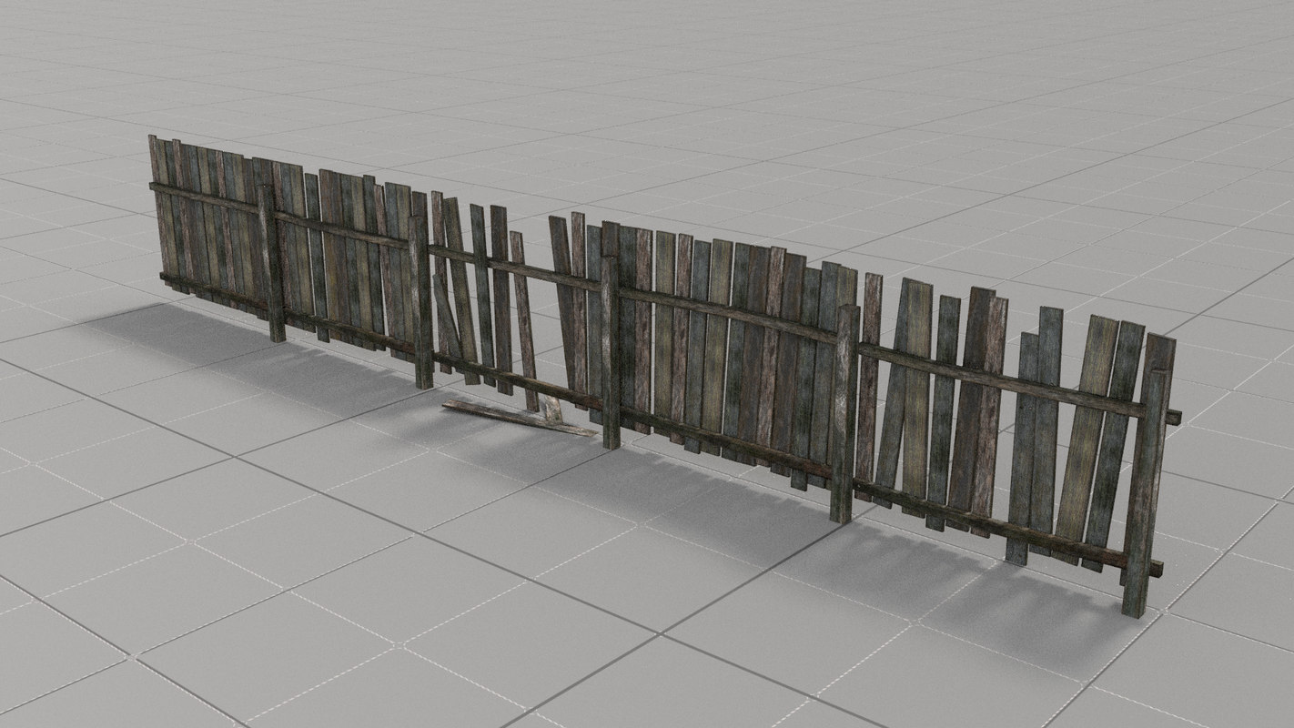 wooden fence old wood 3D model