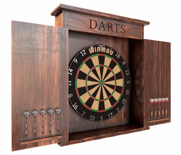 3D dartboard cabinet model