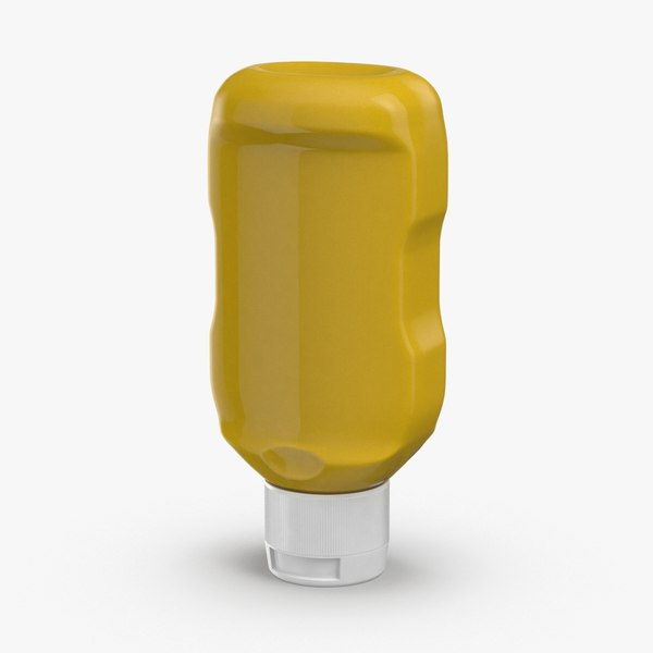 3D model condiment-bottles-02---mustard-no-label