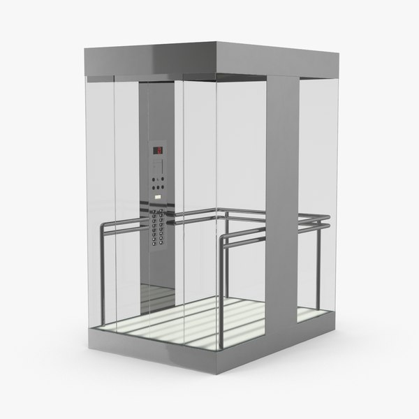 elevator-car-glass---doors-closed 3D model