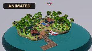 3D cartoon island
