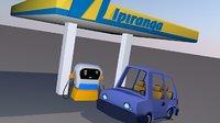 3D cartoon ipiranga gas station model