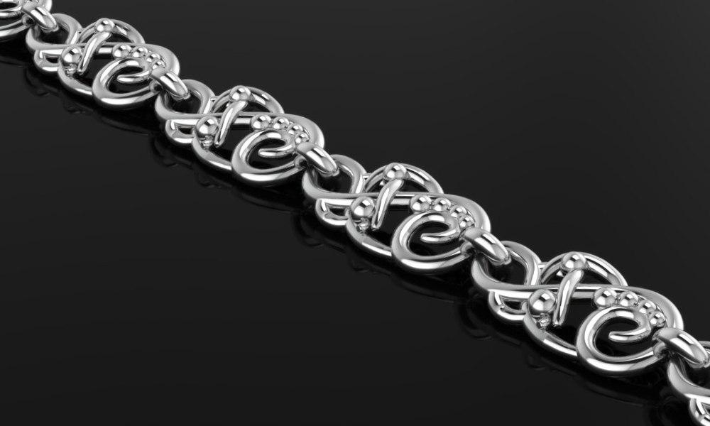 3D silver bio theme braslet