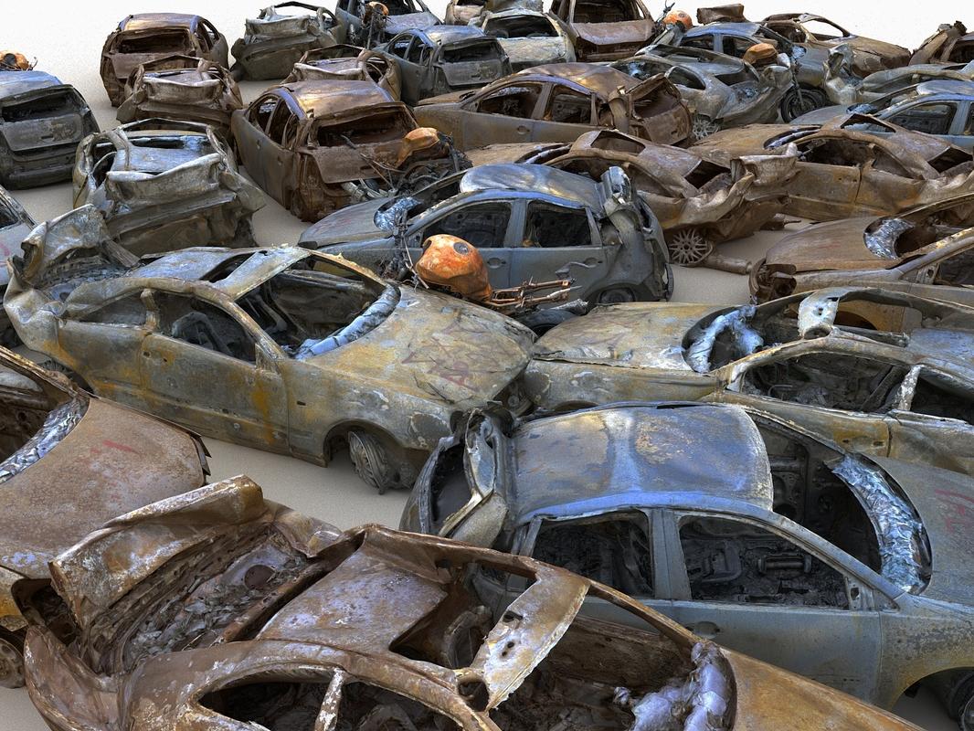 car wreck pack 3D model