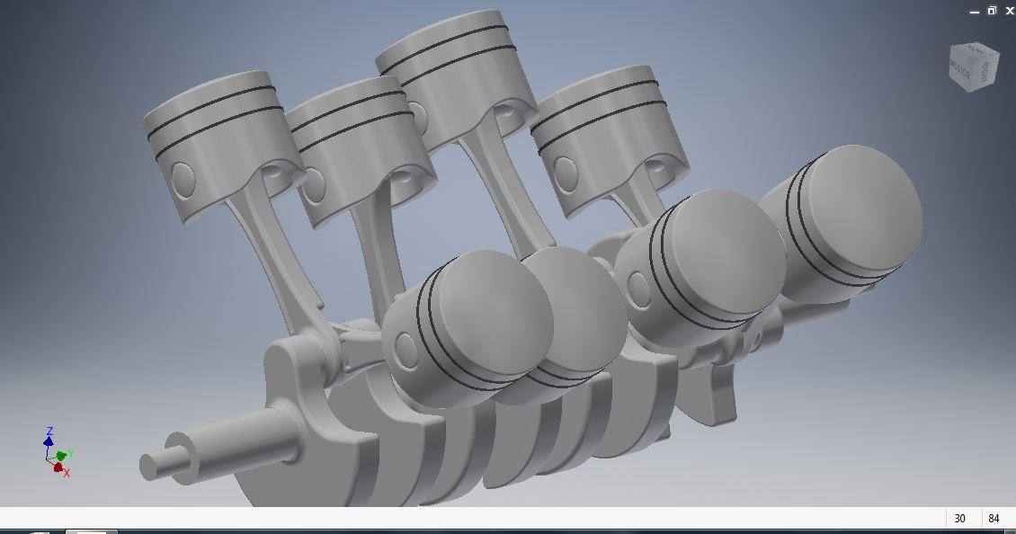 v8 engine piston crankshaft 3D model